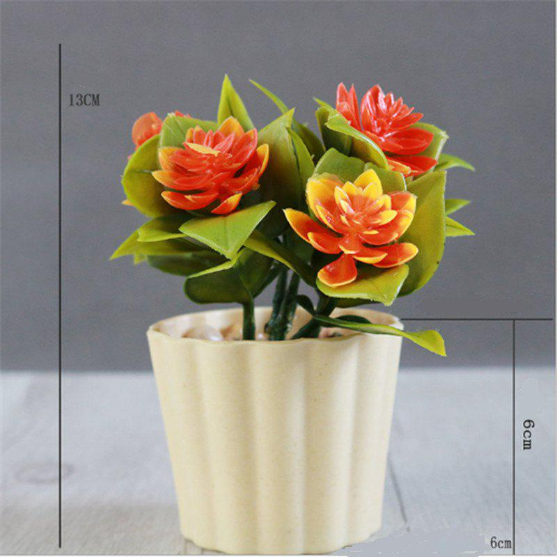 New Arrival Mini Round Simulation Plants Flowers Vase Small Bonsai Pot Artificial Plants Flowerpots Indoor Mini Potted N - ORANGE