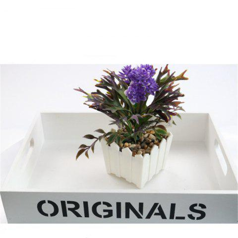 Simulation of Small Bonsai Plants Bonsai Plastic Fence Flowerpot Home Living Room Interior Decorations Placed - PURPLE
