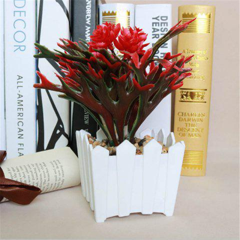 Simulation of Small Bonsai Plants Bonsai Plastic Fence Flowerpot Home Living Room Interior Decorations Placed - RED