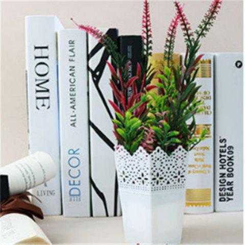 Simulation of Small Green Plants Bonsai Plastic Flower Pots Fake Flowers Living Room Interior Bookcase Decoration Potted - RED