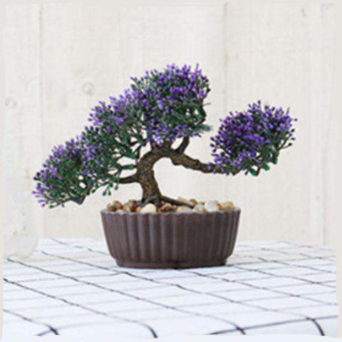 Simulation of Small Pine Bonsai Plastic Flower Fake Flowers Potted Plant Stores Cabinet Decoration - PURPLE
