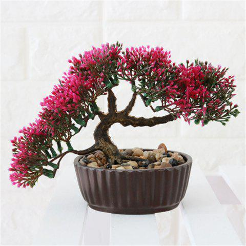 Simulation of Small Pine Bonsai Plastic Flower Fake Flowers Potted Plant Stores Cabinet Decoration - RED