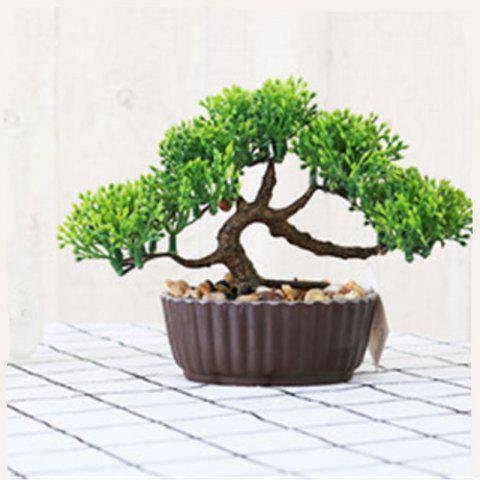 Simulation of Small Pine Bonsai Plastic Flower Fake Flowers Potted Plant Stores Cabinet Decoration - IVY