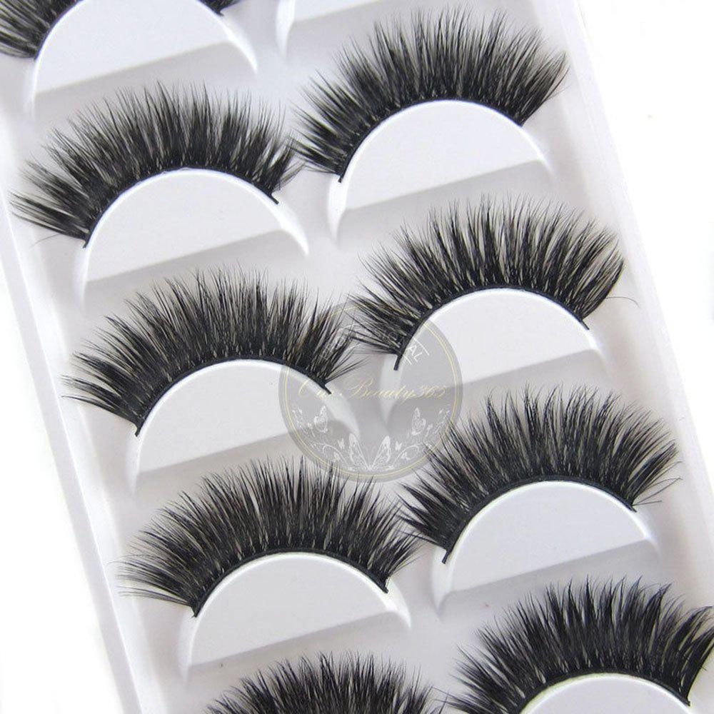 2017 New 10pcs/5 Pairs Luxurious 3D False Eyelashes Cross Natural Long Eye Lashes Makeup - BLACK