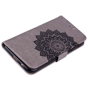 For Samsung Galaxy A7 2017 Glitter Mandala Flower Clamshell Protective Leather Case - GRAY