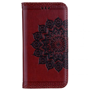 For Samsung Galaxy A7 2017 Glitter Mandala Flower Clamshell Protective Leather Case - BROWN BROWN