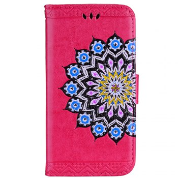 For Samsung Galaxy A7 2017 Glitter Mandala Flower Clamshell Protective Leather Case - SANGRIA SANGRIA