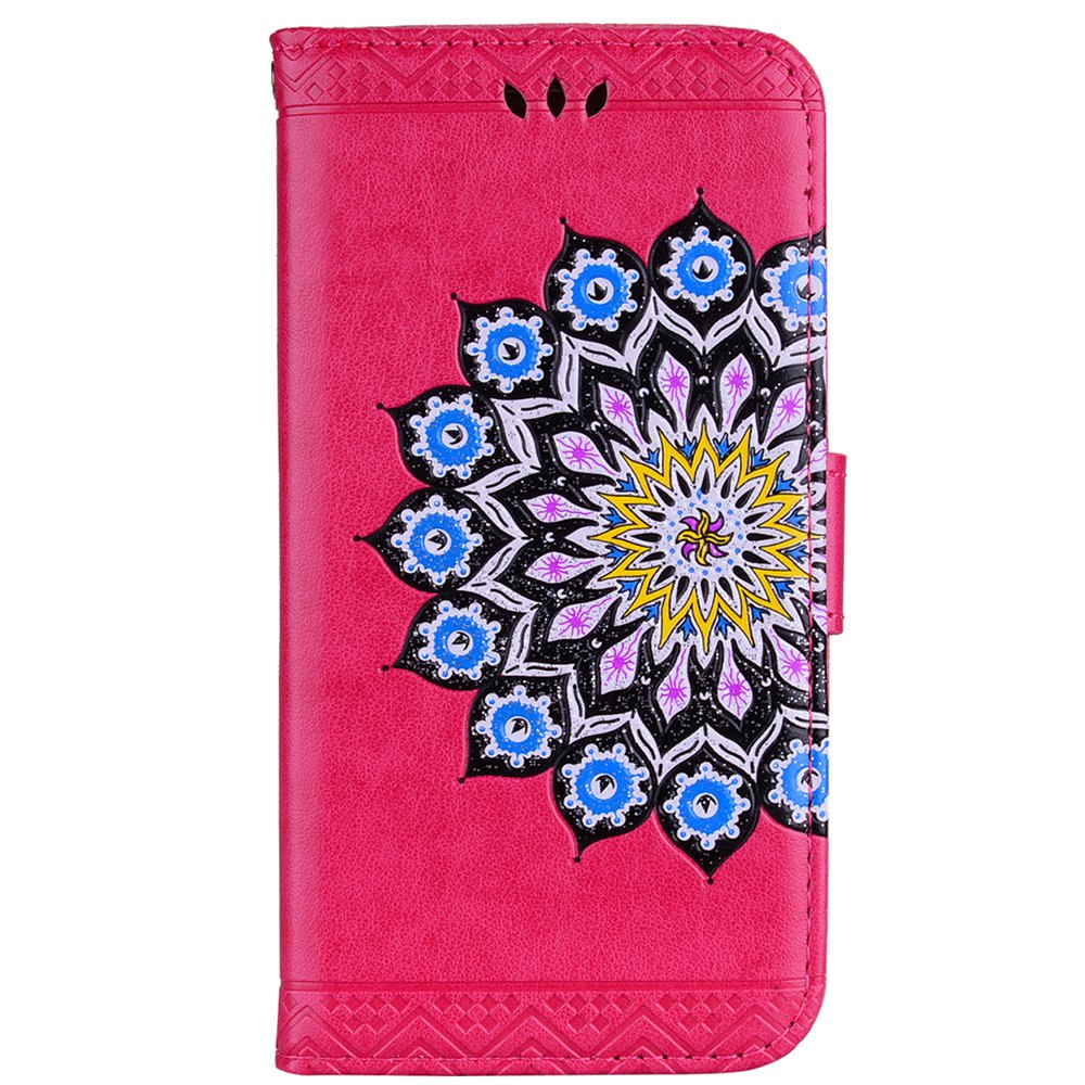 For Samsung Galaxy A7 2017 Glitter Mandala Flower Clamshell Protective Leather Case - SANGRIA