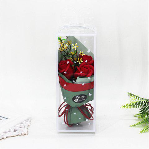 3 Pcs Creative Roses Holding Soap Flower - RED