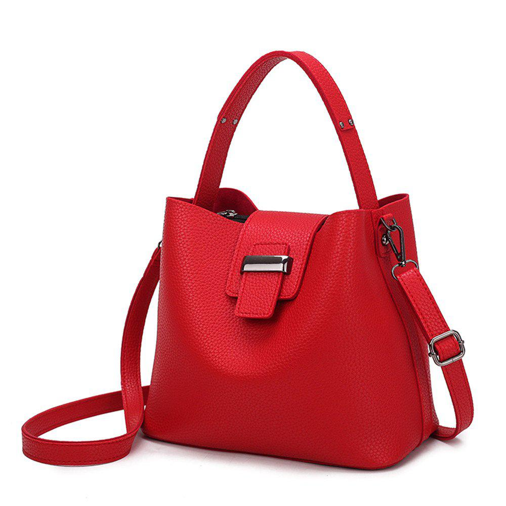 2017 Autumn Temperament Bags Single Shoulder Bag Microfiber Leather Bucket Bag and Bag - RED
