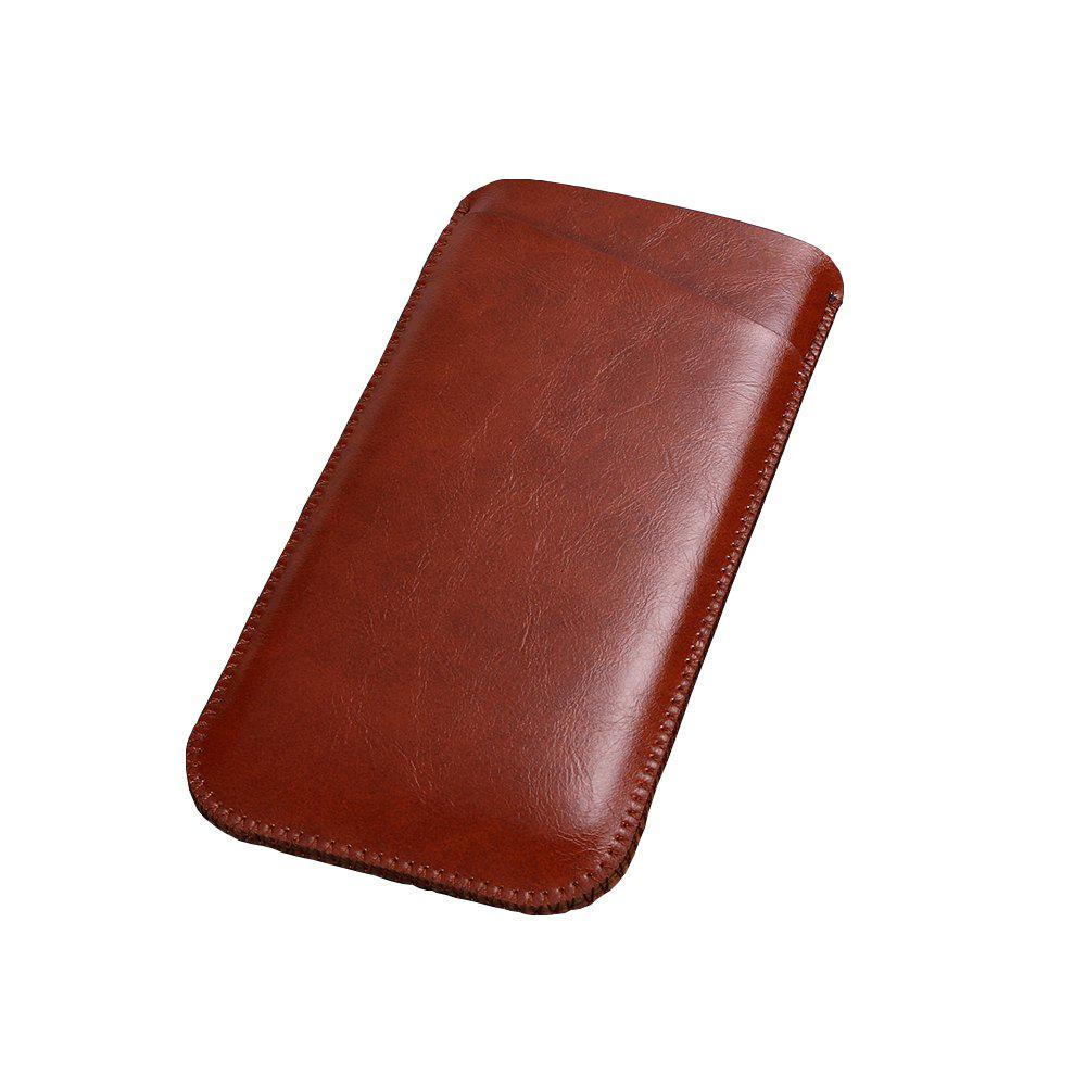 Charmsunsleeve For Samsung Galaxy C5 Pro 5.2 inch Microfiber Leather Case Phone Bag Sleeve With Card Slots - BROWN