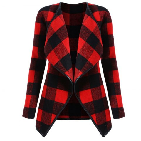 2018 New Long Sleeved Plaid Coat - RED XL