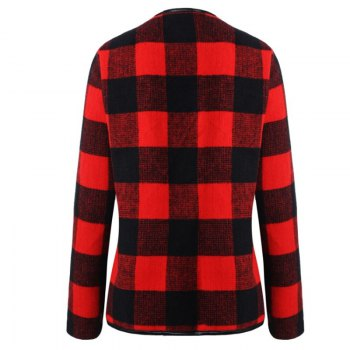 2018 New Long Sleeved Plaid Coat - RED 2XL