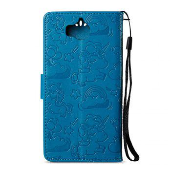 Case Cover for Huawei Y5 2017 Double Sides Embossed Clouds Leather Shell with Wallet - BLUE