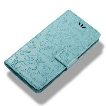 Case Cover for Huawei Y5 2017 Double Sides Embossed Clouds Leather Shell with Wallet - GREEN