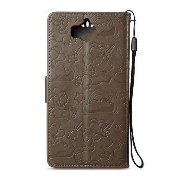 Case Cover for Huawei Y5 2017 Double Sides Embossed Clouds Leather Shell with Wallet - GRAY