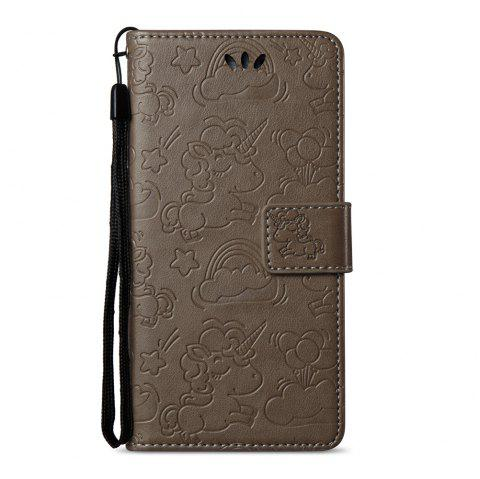 Case Cover for Huawei Hornor 8 2017 Double Sides Embossed Clouds Leather Shell with Wallet - GRAY