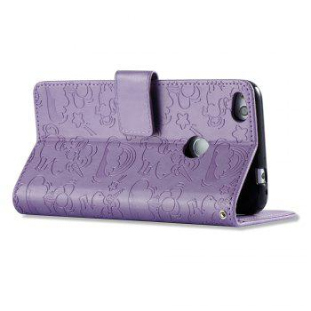 Case Cover for Huawei Hornor 8 2017 Double Sides Embossed Clouds Leather Shell with Wallet - PURPLE