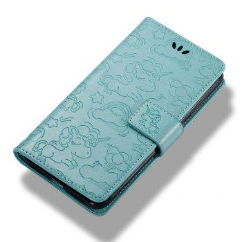 Case Cover for Huawei Hornor 8 2017 Double Sides Embossed Clouds Leather Shell with Wallet - GREEN
