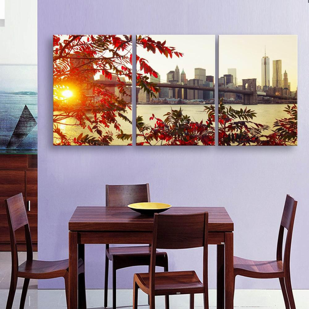 2018 Special Design Frame Paintings Many leaf Print 3PCS RED X INCH ...
