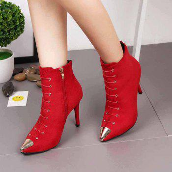 The New All-match Stiletto Sexy Slim Fashion Martin Boots - RED 36