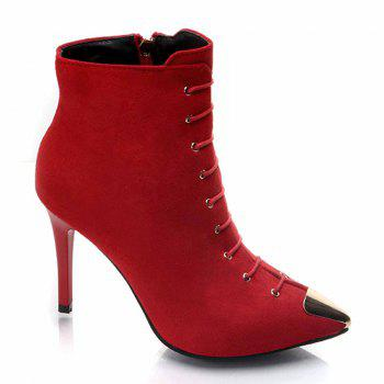The New All-match Stiletto Sexy Slim Fashion Martin Boots - RED RED