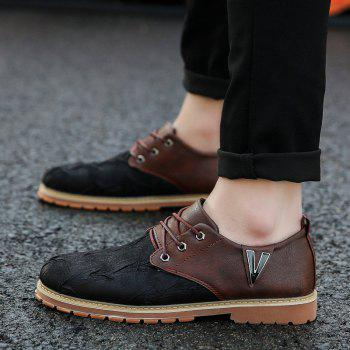 Men Casual Trend for Fashion Lace Up Outdoor Hiking Flat Type Leather Shoes - WINE RED 42