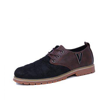 Men Casual Trend for Fashion Lace Up Outdoor Hiking Flat Type Leather Shoes - WINE RED 39