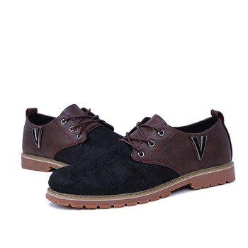 Men Casual Trend for Fashion Lace Up Outdoor Hiking Flat Type Leather Shoes - WINE RED 40