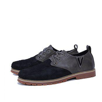 Men Casual Trend for Fashion Lace Up Outdoor Hiking Flat Type Leather Shoes - GRAY 43