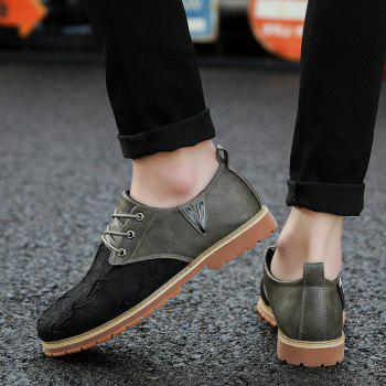 Men Casual Trend for Fashion Lace Up Outdoor Hiking Flat Type Leather Shoes - GRAY 44