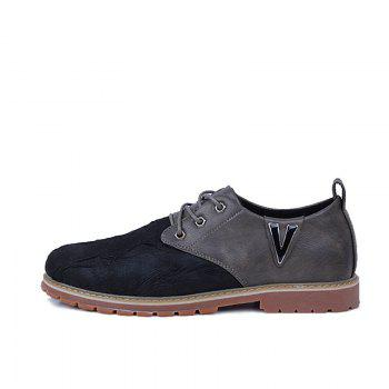 Men Casual Trend for Fashion Lace Up Outdoor Hiking Flat Type Leather Shoes - GRAY 42