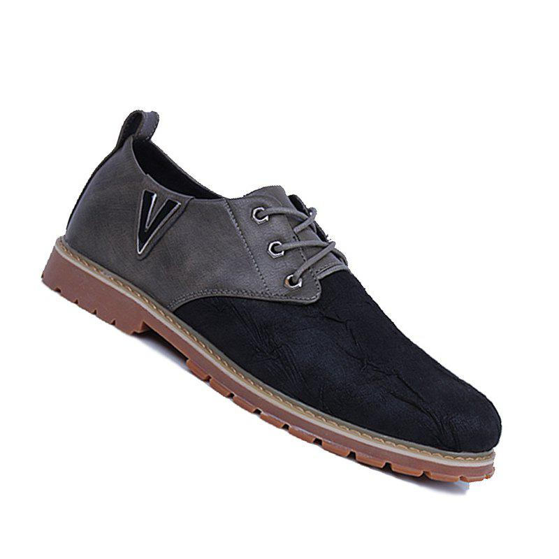 Men Casual Trend for Fashion Lace Up Outdoor Hiking Flat Type Leather Shoes - GRAY 41