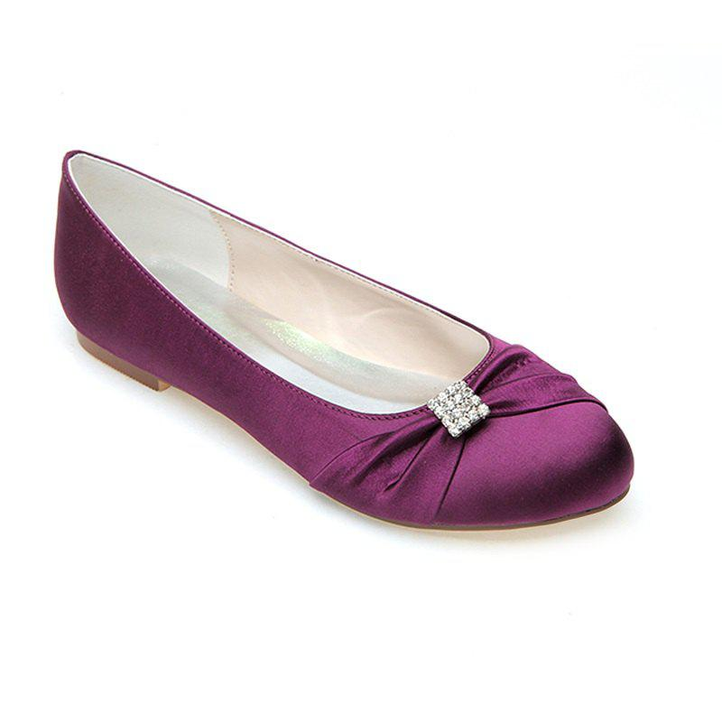 2018 Women\'s Shoes Flat Round Head Wedding Shoes PURPLE In Flats ...