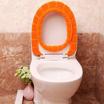 The sculpt of the warm set of pumpkin with the thickening seat  Knitted toilet seat cushion - ORANGE