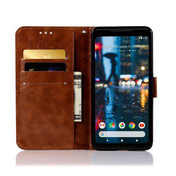 Luxurious Retro Fashion Flip Leather Case PU Wallet Cover Cases For Google Pixel 2 XL Smart Cover Phone Bag with Stand - BROWN