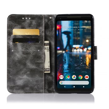 Luxurious Retro Fashion Flip Leather Case PU Wallet Cover Cases For Google Pixel 2 XL Smart Cover Phone Bag with Stand - GRAY
