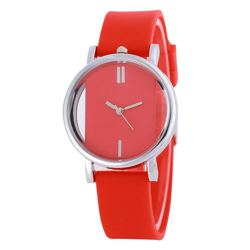 REEBONZ New Arrive Simple Women Hollow Transparent Silicone Quartz Watch - RED