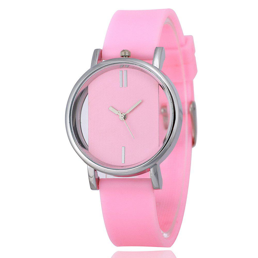 REEBONZ New Arrive Simple Women Hollow Transparent Silicone Quartz Watch - PINK