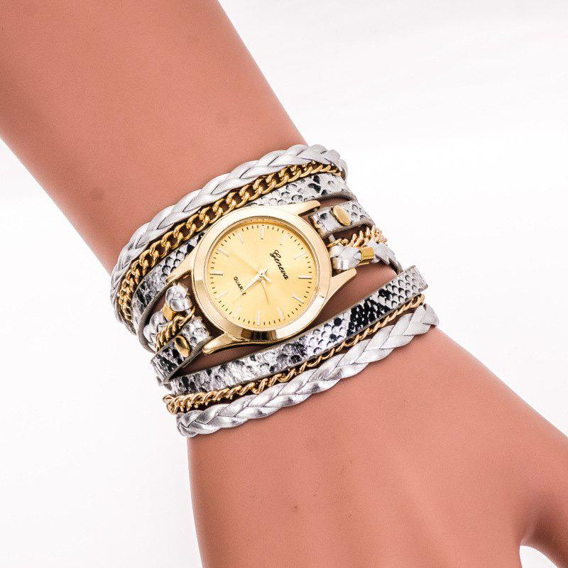 Geneva Retro Elements Leopard Woven Ladies Bracelet Watch - SILVER