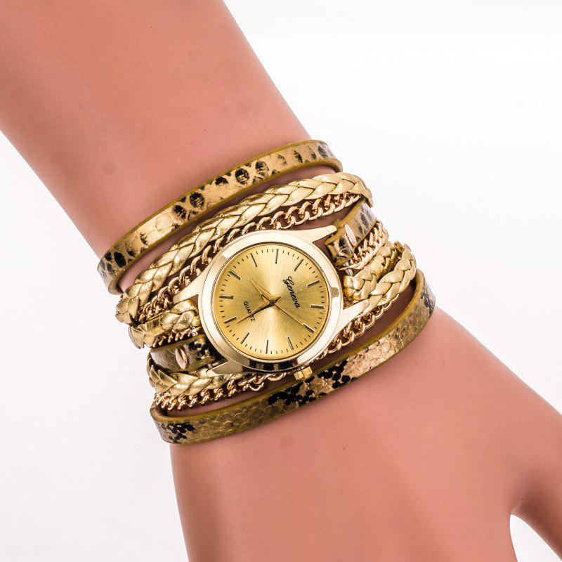 Geneva Retro Elements Leopard Woven Ladies Bracelet Watch - GOLDEN