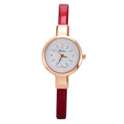 Yakoo Fashion Mini Thin Diamond Qaurtz Wristwatch - RED
