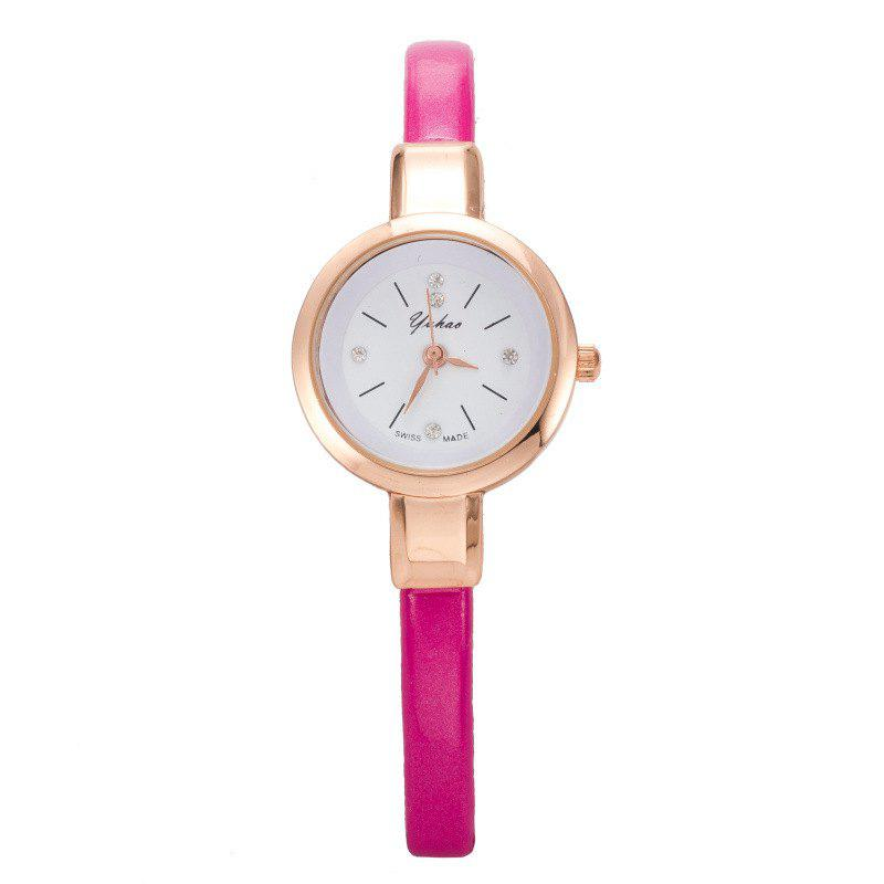 Yakoo Fashion Mini Thin Diamond Qaurtz Wristwatch - ROSE RED
