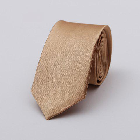 Narrow Version Solid Color Korean Fashion Tie - KHAKI