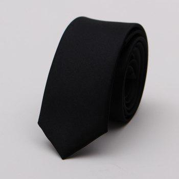 Narrow Version Solid Color Korean Fashion Tie - BLACK BLACK