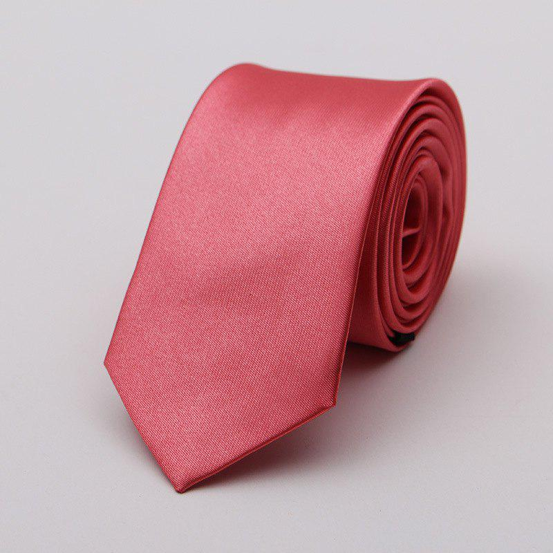 Narrow Version Solid Color Korean Fashion Tie - RED