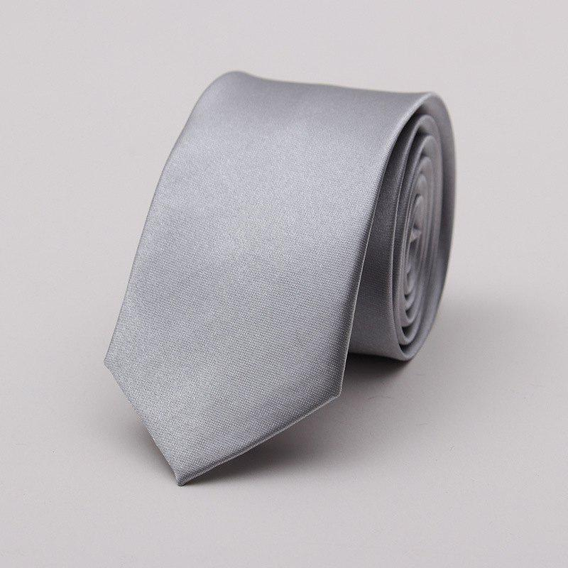 Narrow Version Solid Color Korean Fashion Tie - GRAY