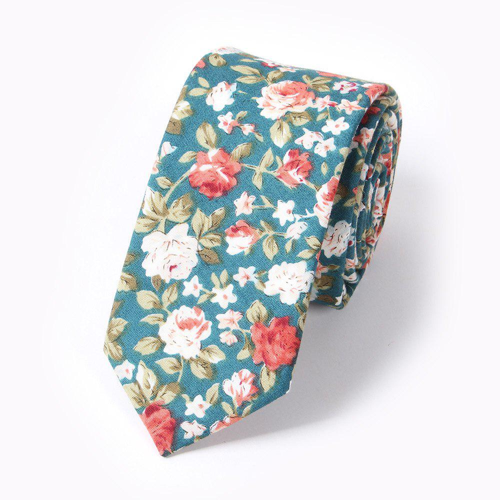 Men'S Fashion Floral Printed Cotton Necktie - CHAMBRAY