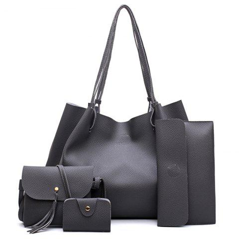 FashionLitchi grain Lady'S Mother Bag Four Pieces of Single Shoulder Cross-Bag - DEEP GRAY VERTICAL