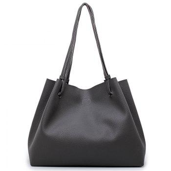 FashionLitchi grain Lady'S Mother Bag Four Pieces of Single Shoulder Cross-Bag - DEEP GRAY DEEP GRAY